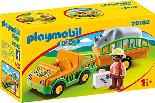 Playmobil 70182 1.2.3 Zoofahrzeug mit Nashorn, bunt