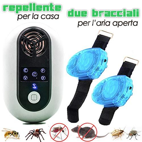 Repellente Antizanzare Braccialetti Ultrasuoni | Portatile Giardino Esterno Elettrico Interno | Bambini Neonati | Dissuasore Zanzara Tigre Scarafaggi Topi Ragni Formiche