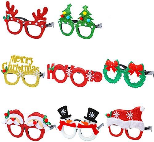 Gafas de Navidad, Gafas de Navidad para Niños Fiesta de Navidad Disfraces para Navidad con Reno Lazo Arbol de Navidad y Gorro Navidad Adorno de Navidad 8 Piezas