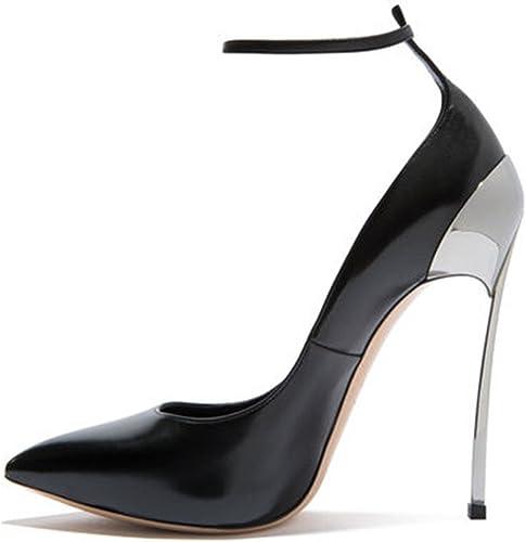 Chaussures Femmes Simple Bouche Peu Profonde Profonde Fait Fine avec Boucle Talon Haut,noir,33  prix de gros