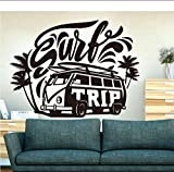 Surfing Tour Hippie Car Wall Decal Dormitorio Habitación Infantil Surfing Volkswagen Car Palm Tree Summer Beach Vinilo Decorativo 56X42Cm