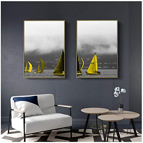 Muurschilderingen Boom Met Rode Vos Canvas abstractie Landschap Nordic Schilderij Winterlandschap Poster Gangpad Wanddecoratie 70x100cm (27.6
