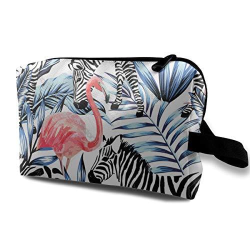 Pink Watercolor Flamingo Zebra and Blue Palm Cosmetic Beauty Bag Cosmetic Makeup Bag Waterproof Women Girl
