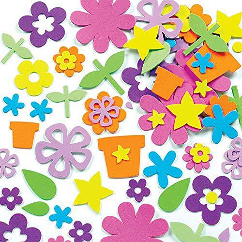 Baker Ross Schaumstoff Aufkleber Blumengarten für Kinder zum Verzieren von Karten und Bastelprojekten - 200 Stück