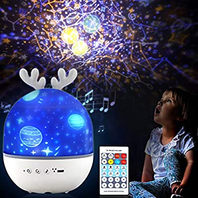 Star Projector, Night Light Projector with 8 Kinds of Music & Remote Control, Star for Ceiling Projector for Kids Bedroom, with 6 Sets of Film, 360 Degree Rotation