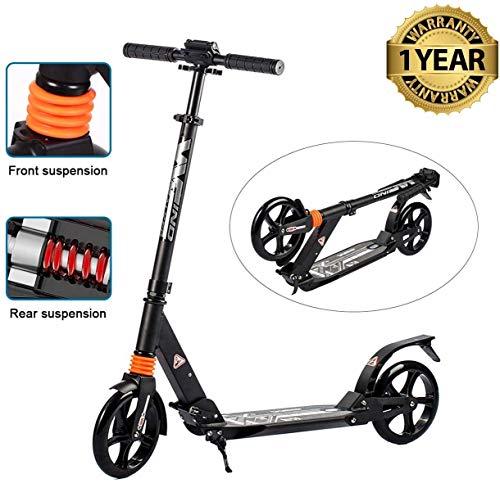 fiugsed Erwachsene/Kinde City Roller Scooter, Leicht Scooter T-Style Stabile Aus Aluminiumlegierung, Klapproller mit Scheibenbremse und 200mm großen Rädern (Schwarz Upgrade)