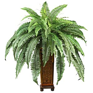 Nearly Natural 6553 Boston Fern with Wood Vase Decorative Silk Plant, Green,12″ x 12″ x 35″