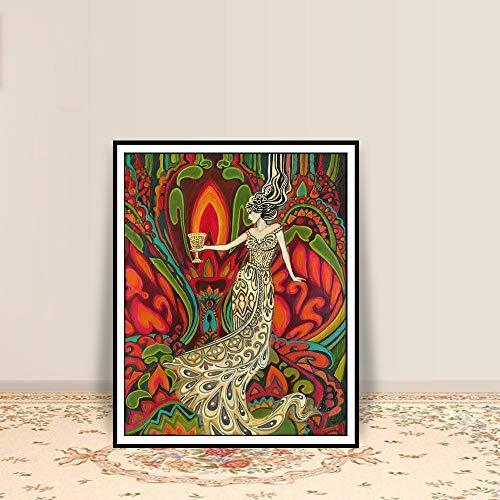 Geiqianjiumai Cup Queen Tarot Art poster en afdrukken Pagan Psychedelic Art heks mythologie aquarel godin print zonder lijst schilderij