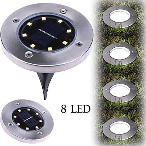Coohole 1 PC Solar LED Outdoor Path Light Spot Lamp Yard Garden Lawn Landscape Waterproof (B, 8 LED)