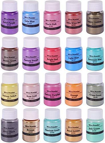 Slime Powder, Mica Powders, Natural Powder Pigments, for Adhesive Pigments, Bath Bomb Dyes, Soap Making, Etc. (20 Colors 10g/0.35oz Each)