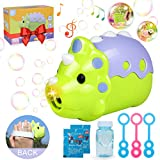 CORLOU Bubble Machine Toys,Electric Music /Light Cute Dinosaur Bubble Blower Manual/Auto Feature With 1 Bottle Durable Solution Gift Toys for 2 3 4 5 Years Old Boys/Girls/Kids,Outdoors&Party&Wedding
