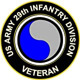 Military Vet Shop U.S. Army Veteran 29th Infantry Division Window Bumper Sticker Decal 3.8