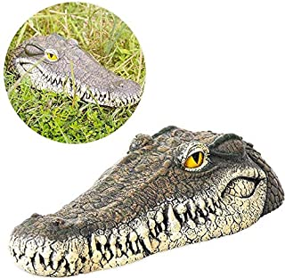 Womdee 13inch Alligator Head Decoy & Pond Float with Reflective Eyes,Floating Crocodile Head for Pool,Pond,Garden and Patio