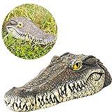 Lesgos Schwimmende Krokodil Kopf Wasser Köder Lockvogel Garten Oder Teich Terrasse Rasen Kunst Dekor Outdoor-Statuen Für Gans, Raubtier, Reiher, Ente Kontrolle (13 X 6,1 X 2,95 Zoll)