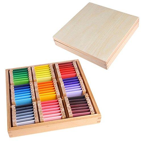 Faironly Holz-Tabletbox für sensorisches Lernen, Farbkarte, Holz, für Kinder im Vorschule, Farbe Large