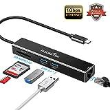 Rocketek USB C 3-Port-USB 3.0-Hub mit Ethernet (USB C-Hub mit Ethernet, Gigabit-Ethernet-USB-Hub) Unterstützt 10/100/1000 Mbit/s Ethernet-Netzwerk Kompatibel für Mac Book Pro, XPS & USB C-Geräte