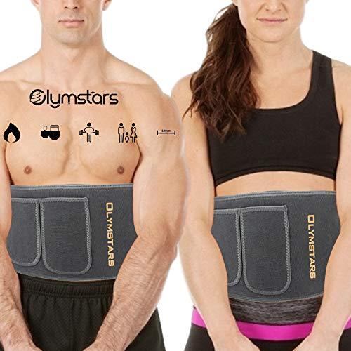Olymstars Faja Reductora Mujer y Hombre, Stomach Faja Lumbar Acelera la Sudoración Estomacal, Quema la Grasa Corporal, Es Bueno para el Ejercicio, para Correr, para el Yoga, Etc