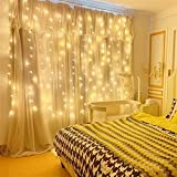 Curtain String Lights, USB Powered Fairy Lights, 8 Lighting Modes with Remote Dimmable,...