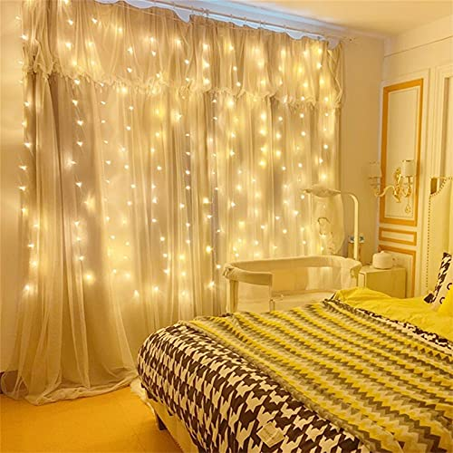 Curtain String Lights, USB Powered Fairy Lights, 8 Lighting Modes with Remote Dimmable, IP64 Waterproof for Party Bedroom Room Backdrop Window Twinkle Decoration(7.9Ft x 5.9Ft)Warm White