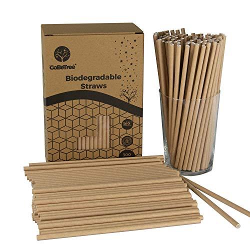 GoBeTree 300 cannucce di carta biodegradabili in carta kraft, cannucce usa e getta, ecologiche compostabili, per feste, compleanni, bevande fredde e calde