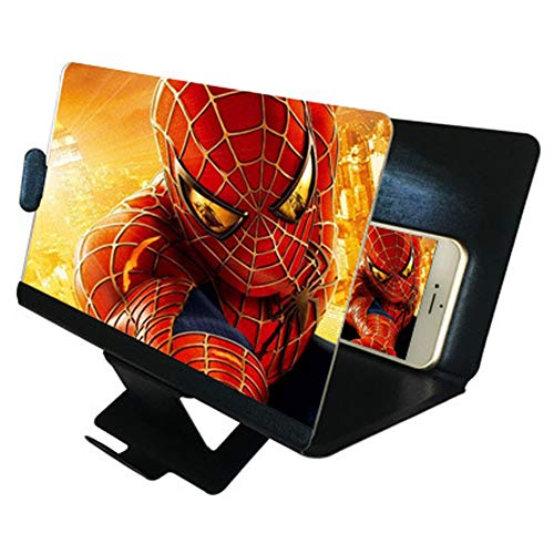 DRIDOUAM Mobile Phone Screen Magnifier 8 HD Screen Enlarger Movies Amplifier Foldable Holder Stand for All Smartphones, PU Leather, Black