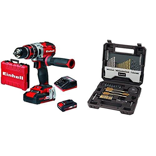 Einhell - Taladro percutor sin cable Expert TE-CD 18 Li-i BL brushless con 2 baterías (batería de litio, 2.0 Ah, 18 V, 2 velocidades, 60 Nm, Power-X-Change) + Set de 70 brocas 4258085 con maletín