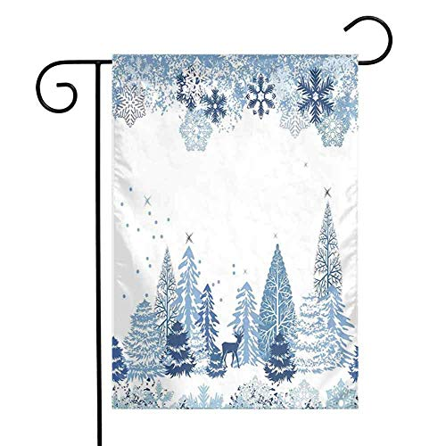 Drapeau de Jardin pastèque d'hiver Double Face Scène d'hiver avec Cerfs congelés et Neige Noël Saison pins Arbres buissons Flamingo Garden Flag W12.5 x L18 Pouces Bleu Blanc