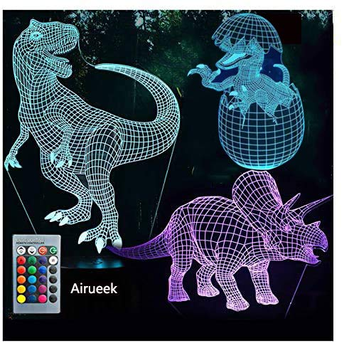 3D Illusion Lamp, Light Night for Boys Girls Table Desk Lamp Color Change Decor Lamp - Perfect Gifts Birthday Festival Christmas for Teens Friends… (Dinosaur 3)