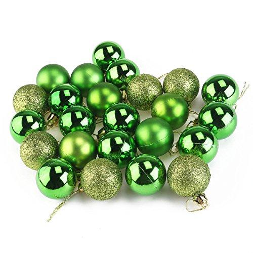 Pixnor 24Pcs Bagattelle Decorazioni Per Albero Di Natale Decorazione Palle (4Cm, Verde)
