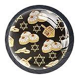 4 boutons d'armoire de cuisine noirs pour tiroirs de commode avec vis rondes décor à la maison - symboles célèbres sans couture vacances juives