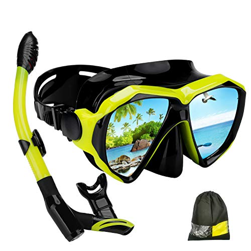 KKlite Dry Snorkel Mask Set - 2019 New Impact Resistant Tempered Glass Diving Mask, Anti-Fog Lens for Best Vision, Easy Adjustable Strap, Carrying Bag for Adult, Beginners and Divers (Yellow)