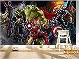 Personalizado 3d Niños Niños Papel Pintado Mural Los Vengadores Spiderman Hombre De Hierro Hulk Capitán América Tv Sofá Sala De Estar Café Bar Fondo Ancho300cm * Altura210cm Un