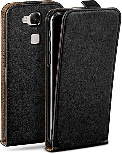 moex Flip Hülle für Huawei Ascend Mate 7 Hülle klappbar, 360 Grad R&um Komplett-Schutz, Klapphülle aus Vegan Leder, Handytasche mit vertikaler Klappe, magnetisch - Schwarz