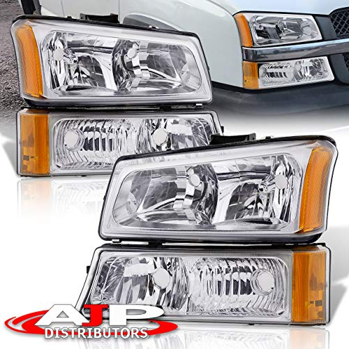 AJP Distributors Headlights Head Lights Lamps Assembly Pair Left Right 2003 2004 2005 2006 2007 03 04 05 06 07 For Chevy Silverado 1500 2500 3500 Avalanche (Chrome Housing Clear Lens Amber Reflector)