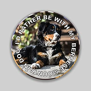 JMM Industries I'd Rather Be with My Bernese Mountain Dog Puppy Vinyl Decal Sticker Car Window Bumper 2-Pack 4-Inches Round Premium Quality UV-Protective Laminate PDS1315