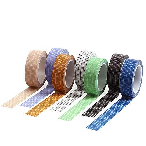 DEDC 7pcs Combinación de Cintas Adhesivas Decorativas de Patrón de Cuadros para Manualidades Regalos Scrapbooking DIY Bricolaje Pegatinas 15mm x 10m