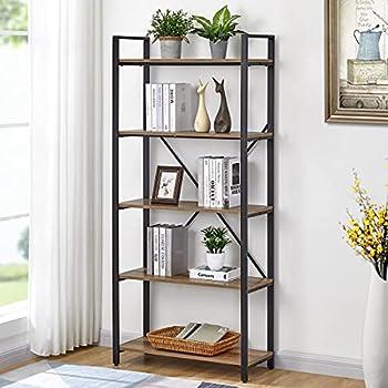 FATORRI 5 Tier Industrial Bookshelf Rustic Etagere Bookcase for Display Vintage Shelving Unit Wood and Metal Book Shelves for Home Office   Rustic Oak