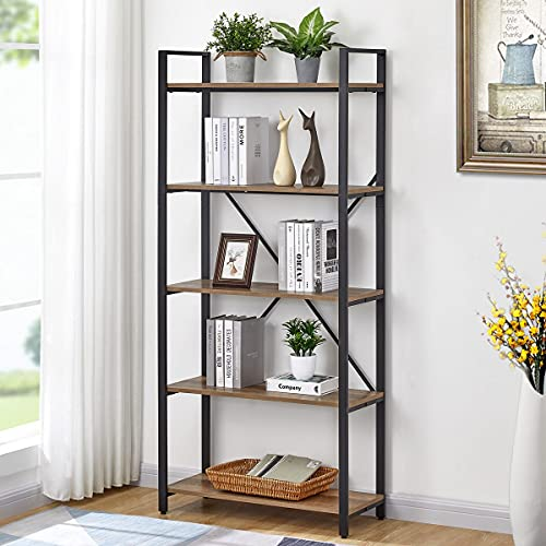 FATORRI 5 Tier Industrial Bookshelf, Rustic Etagere Bookcase for Display, Vintage Shelving Unit Wood and Metal Book Shelves for Home Office ( Rustic Oak)