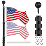 IIOPE Telescoping Flag Poles Kit, 20 FT Heavy Duty Aluminum Telescopic Flagpole with 3x5 American Flag, Outdoor In...