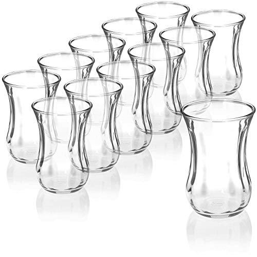 com-four® 12-teiliges Teeglas Set, Türkische Teegläser, original orientalisches Çay-Set für 12 Personen, Gastroqualität