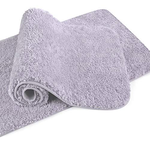 VANZAVANZU Badematte rutschfest 2er Pack Badteppich Verdickt Badezimmerteppich Weich Badeteppich Flauschige Mikrofaser Badvorleger, Supersaugfähig, Maschinenwaschbar - 50 x 80cm (Lavendel)