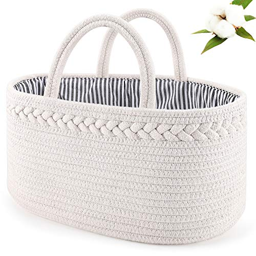 ABenkle Baby Diaper Caddy Organizer, Boho Rope Nursery Storage Baby Basket Bin Gift Bags for Boys/Girls, Portable Caddy Organizer for Changing Table/Car, Ideal Gift Baby Shower Basket (White)