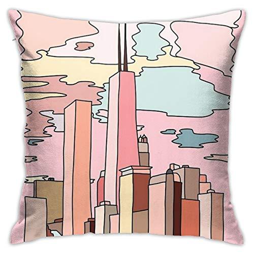 Chicago Zon Set Kussensloop 18 X 18 Inch Vierkant Kussensloop Pluche Stof Huisdecoratie Vierkante Slaapbank Auto Kussensloop Zacht En Comfortabel, 45 Cm X 45 Cm