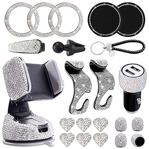 21 piezas Bling Car Accesorios para Mujeres Rhinestone Kit Dual USB Cargador de Coche Teléfono Montaje Neumático Tapa de Válvula Gafas Copa Posavasos Asiento Trasero Gancho Anillo de Comienzo Etiqueta