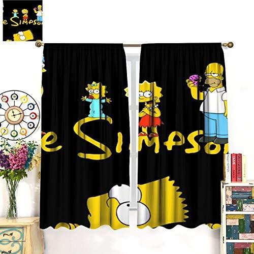 FOCLKEDS Cortinas de oscurecimiento para ventana, diseño de dibujos animados, cortina con diseño de Simpsons para sala de estar infantil, 107 x 160 cm