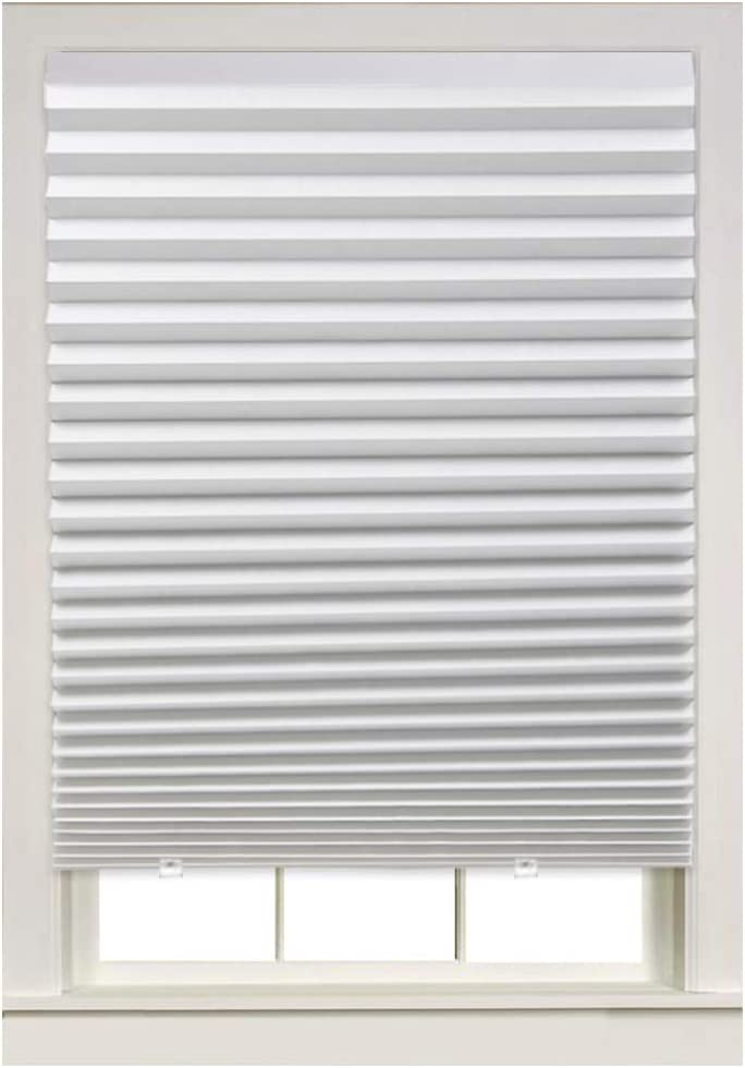 Turquoize Light Filtering Temporary Pleat Paper Shades, White, Quick Fix & Easy to Install, 36