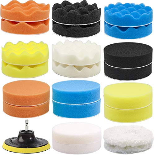 GOH DODD Car Foam Drill Polishing Pad Kit, 5 inch 24 Pieces Polisher Buffing Pads, Wool Pads, Backing Plate, M10 Drill Adapter for Washing, Cleaning & Waxing