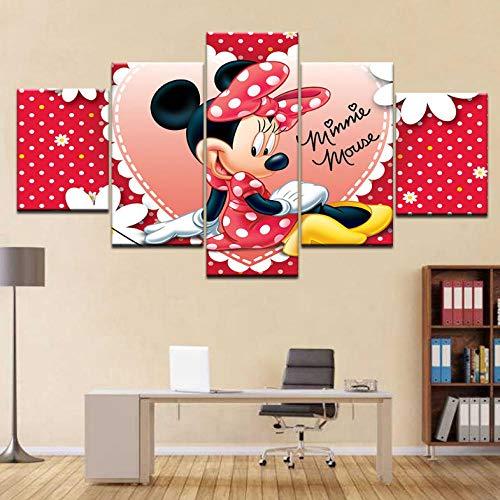 Jgophu Die rosa Maus schöne Moderne leinwand wandkunst 5 Panel hd Druck für zuhause Wohnzimmer Dekoration 30x40x2 30x60x2 30x80 cm