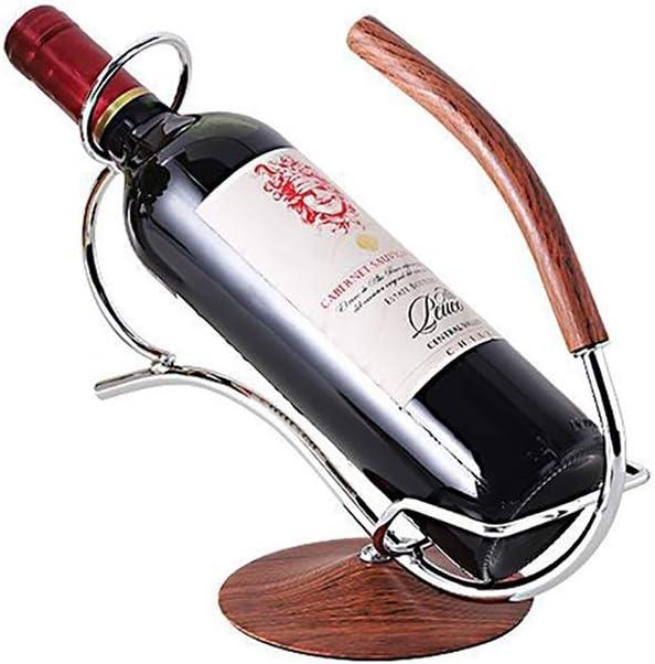 HCYSNG Estanterías de Vino con encimera de Hierro sin pie Soporte de Vino pequeño Estante de Vino de Madera encimera de Madera Cortinas de Vino (Color : Silver)