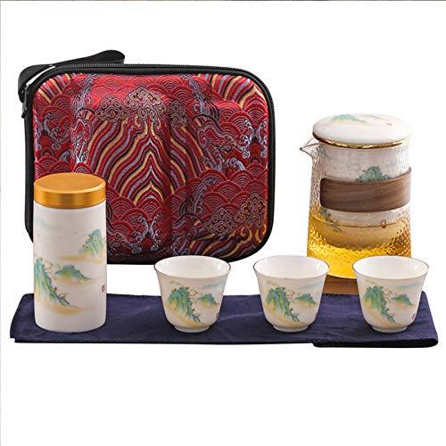 TWW Teeservice-Set Tragbares Reise-Teeservice-Set Leichtes Und Praktisches Teeservice-Set Tee-Caddy-Reise-Schnellgastbecher Keramiktasse